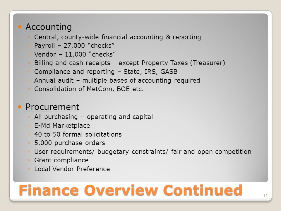 Finance Overview Continued