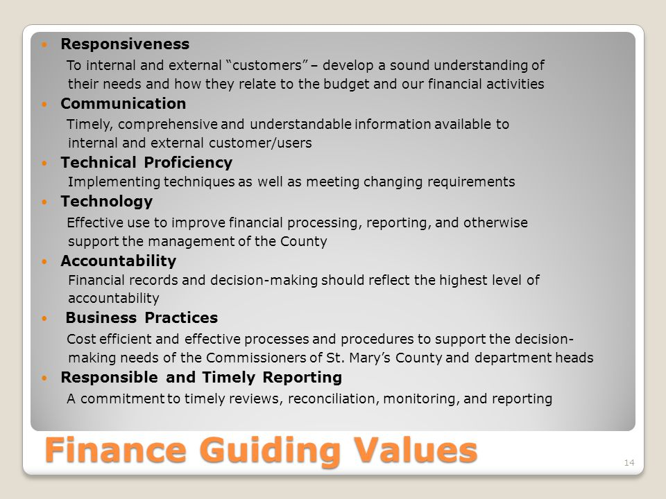 Finance Guiding Values
