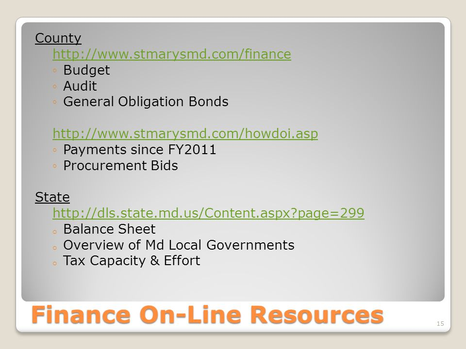 Finance On-Line Resources