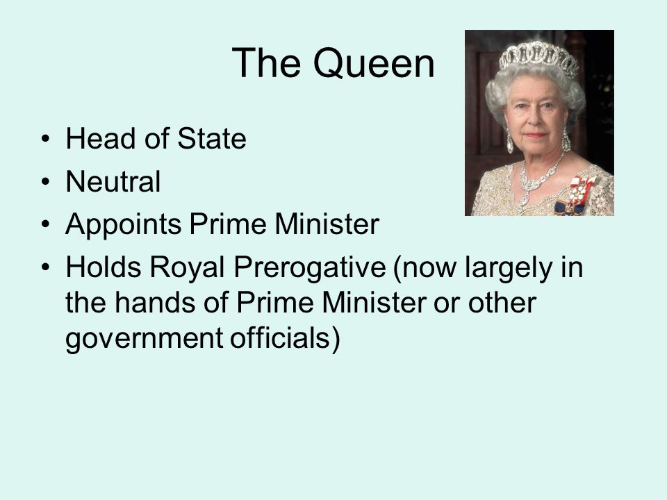 The Queen Head of State Neutral Appoints Prime Minister