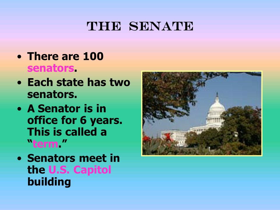 The senate There are 100 senators. Each state has two senators.