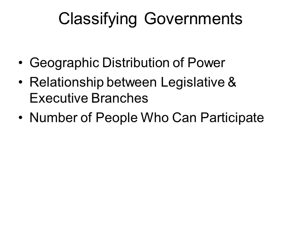 Classifying Governments