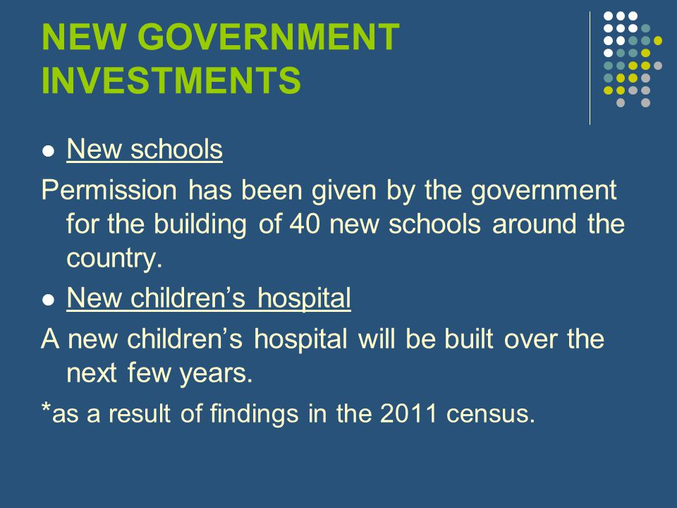 NEW GOVERNMENT INVESTMENTS