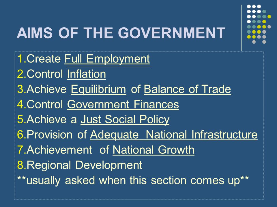AIMS OF THE GOVERNMENT 1.Create Full Employment 2.Control Inflation