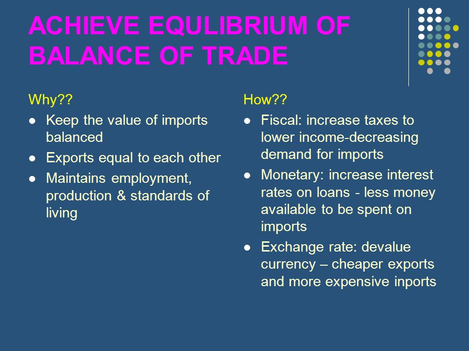 ACHIEVE EQULIBRIUM OF BALANCE OF TRADE