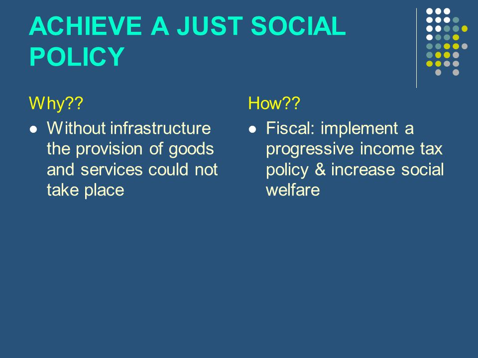 ACHIEVE A JUST SOCIAL POLICY