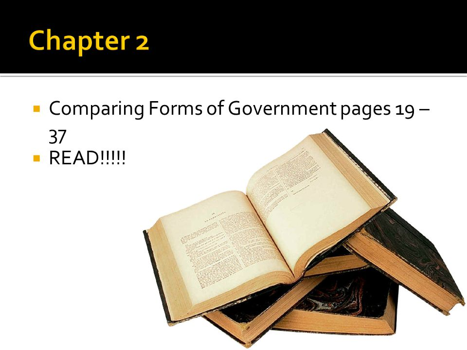 Chapter 2 Comparing Forms of Government pages 19 – 37 READ!!!!!