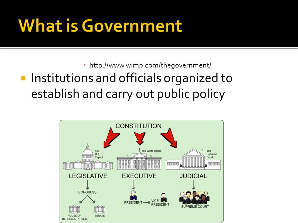 What is Government http://www.wimp.com/thegovernment/ Institutions and officials organized to establish and carry out public policy.