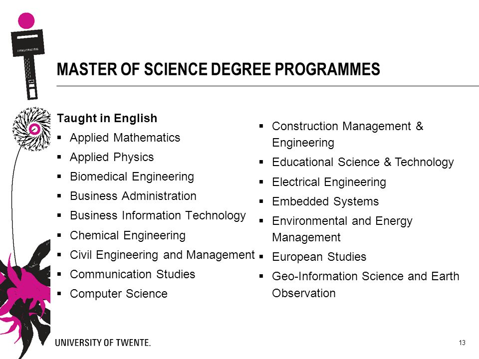 MASTER OF SCIENCE DEGREE PROGRAMMES