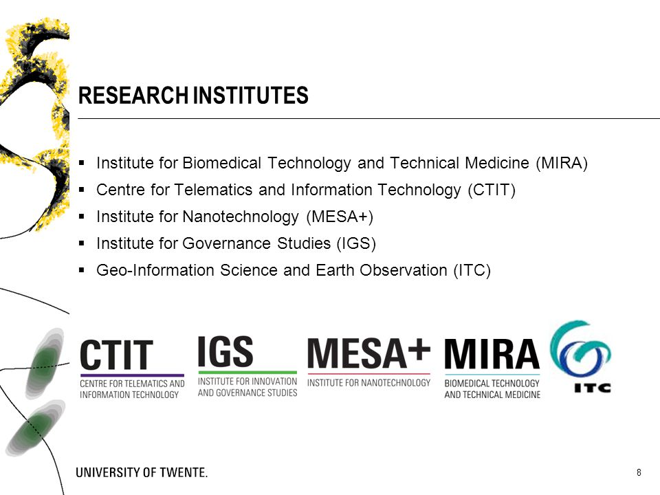 RESEARCH INSTITUTES Institute for Biomedical Technology and Technical Medicine (MIRA) Centre for Telematics and Information Technology (CTIT)