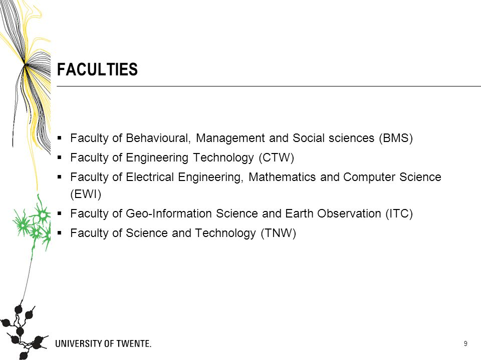 FACULTIES Faculty of Behavioural, Management and Social sciences (BMS)