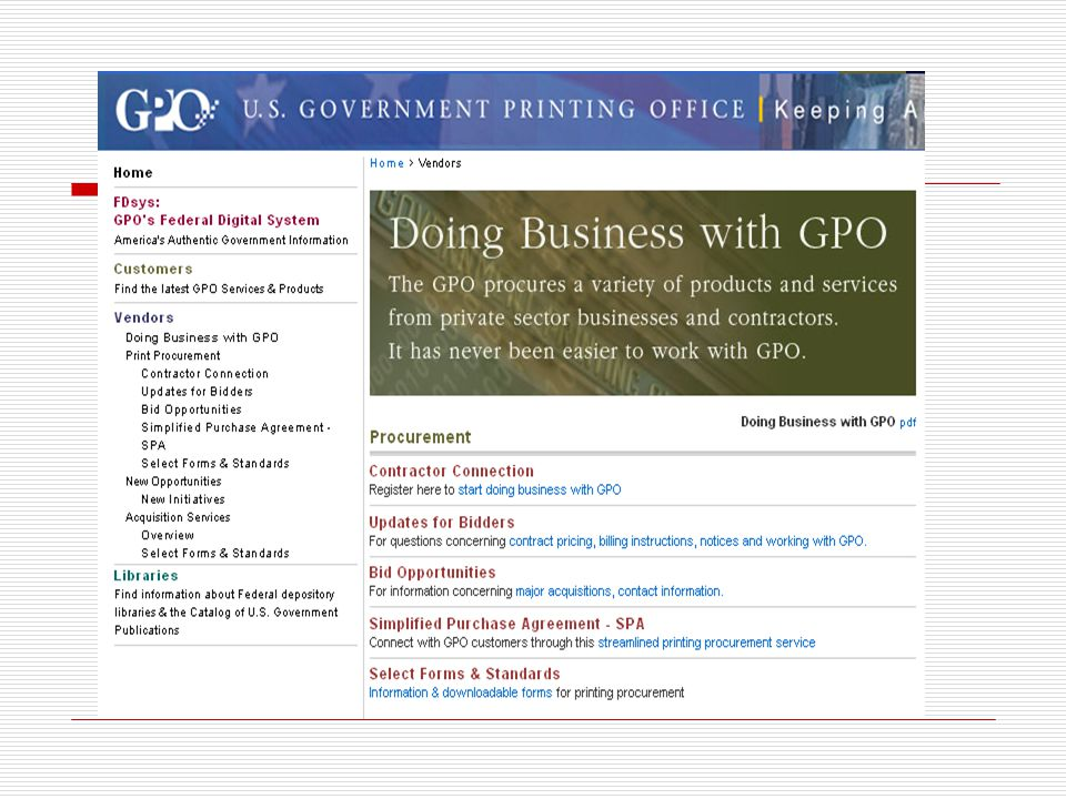 Links to business opportunities with GPO