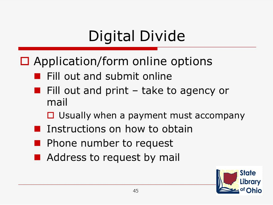 Digital Divide Application/form online options