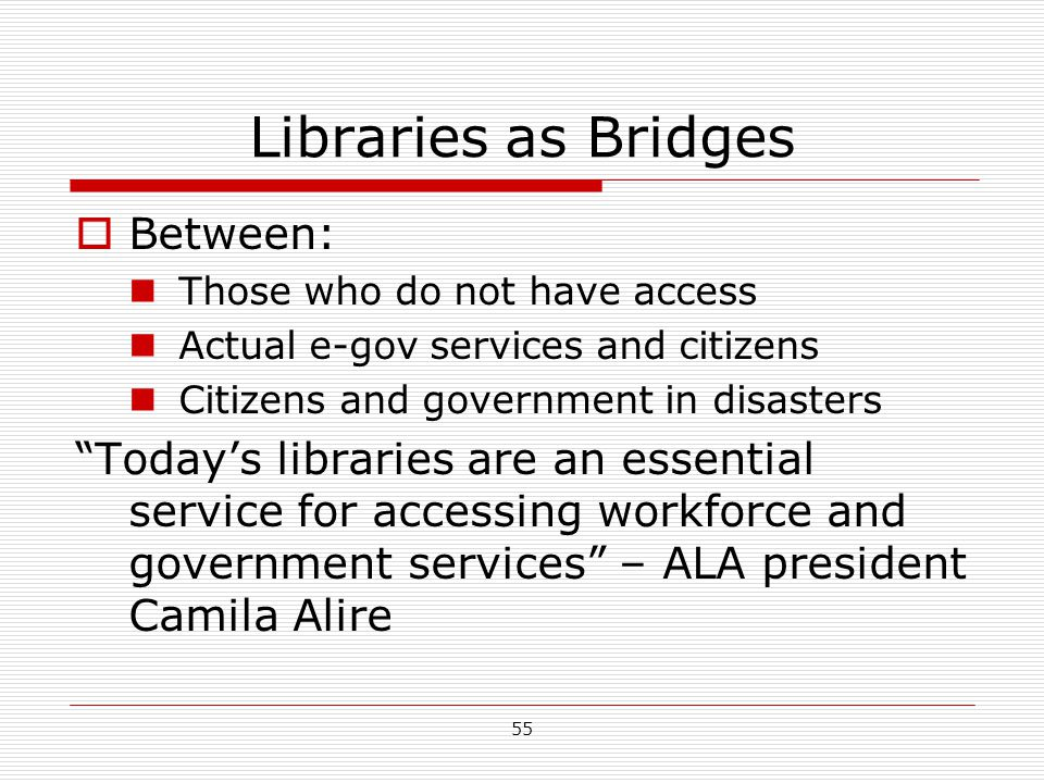 Libraries as Bridges Between:
