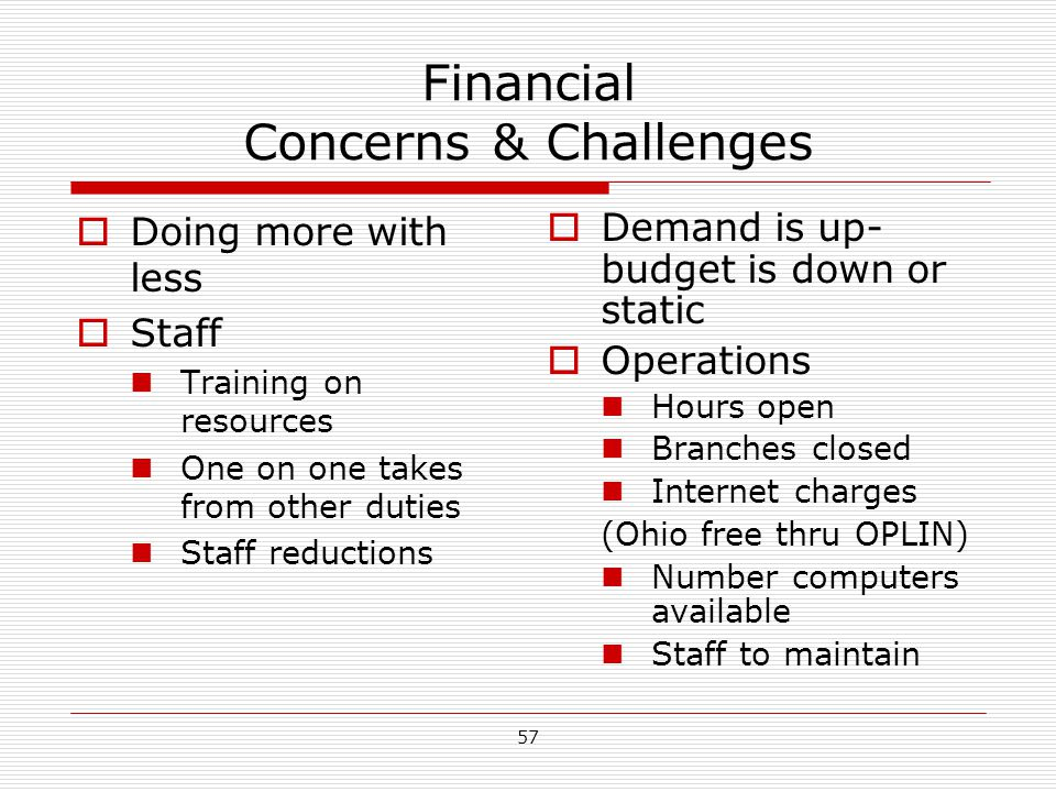 Financial Concerns & Challenges