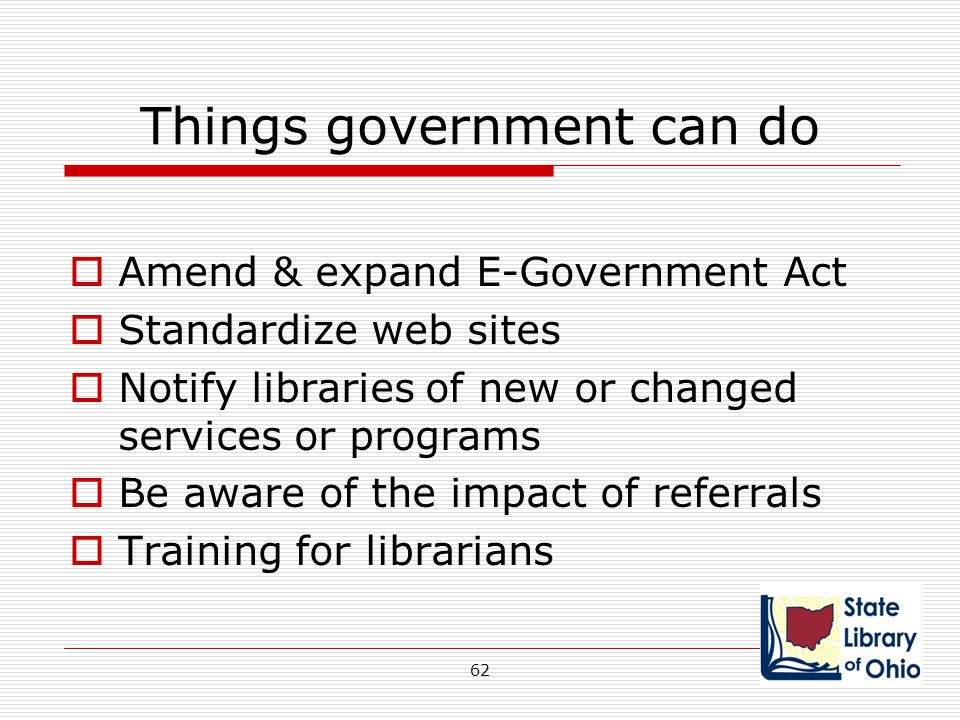 Things government can do