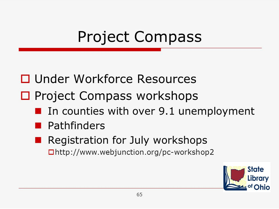 Project Compass Under Workforce Resources Project Compass workshops
