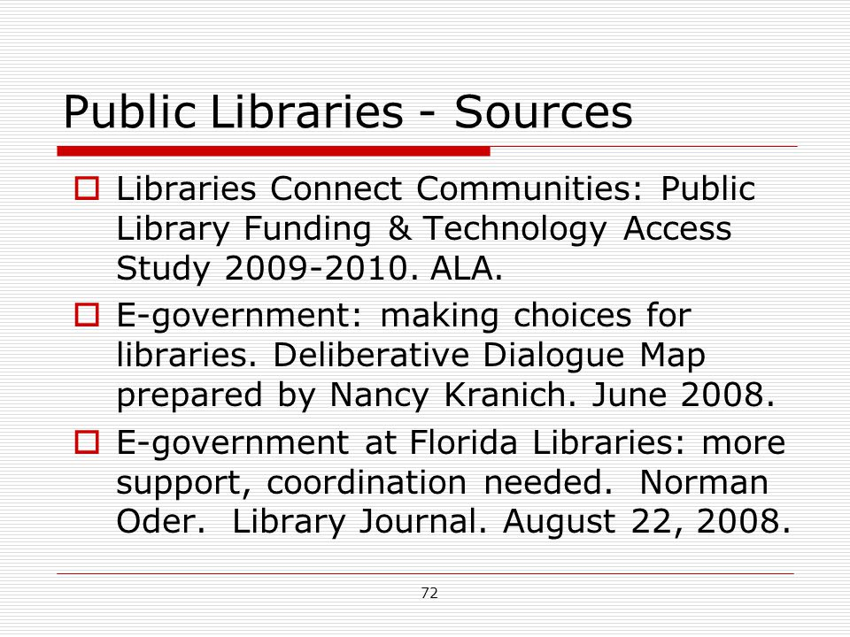 Public Libraries - Sources
