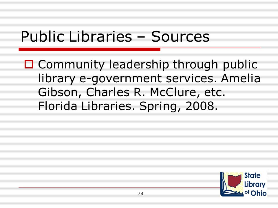 Public Libraries – Sources