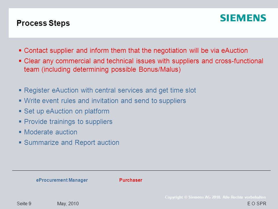 Process Steps Contact supplier and inform them that the negotiation will be via eAuction.
