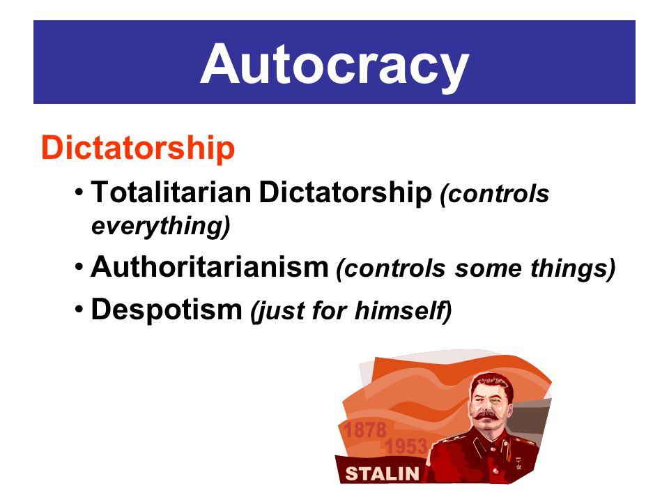 Autocracy Dictatorship Totalitarian Dictatorship (controls everything)