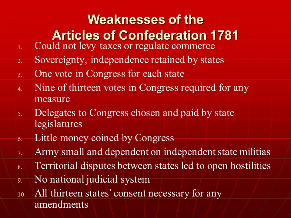 Weaknesses of the Articles of Confederation 1781