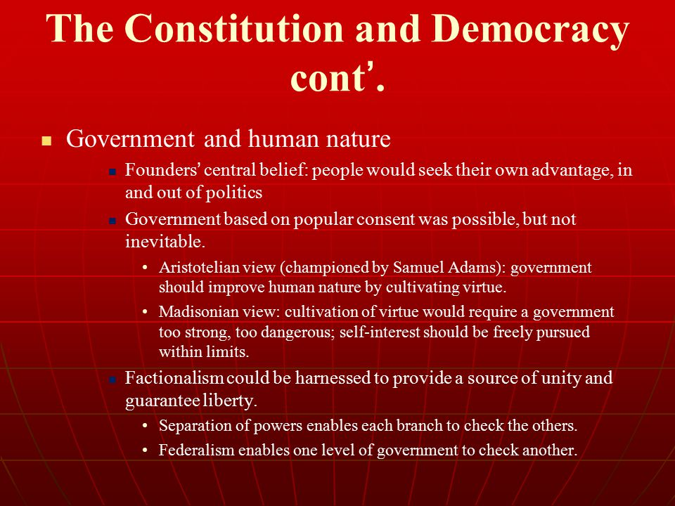 The Constitution and Democracy cont'.