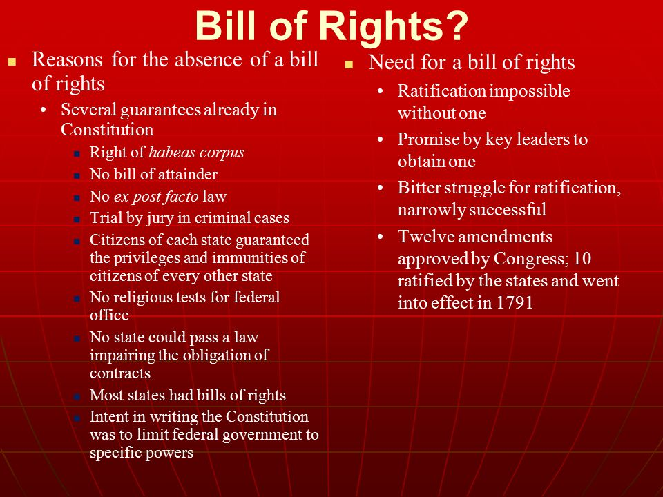 Bill of Rights Reasons for the absence of a bill of rights