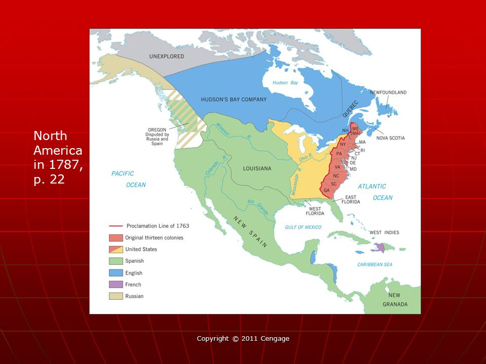 North America in 1787, p. 22 Place map of North America in 1787, p.