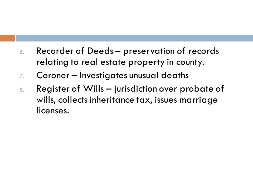 Recorder of Deeds – preservation of records relating to real estate property in county.