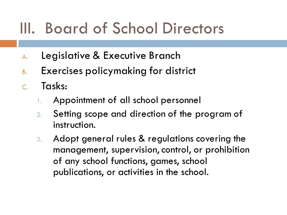 III. Board of School Directors