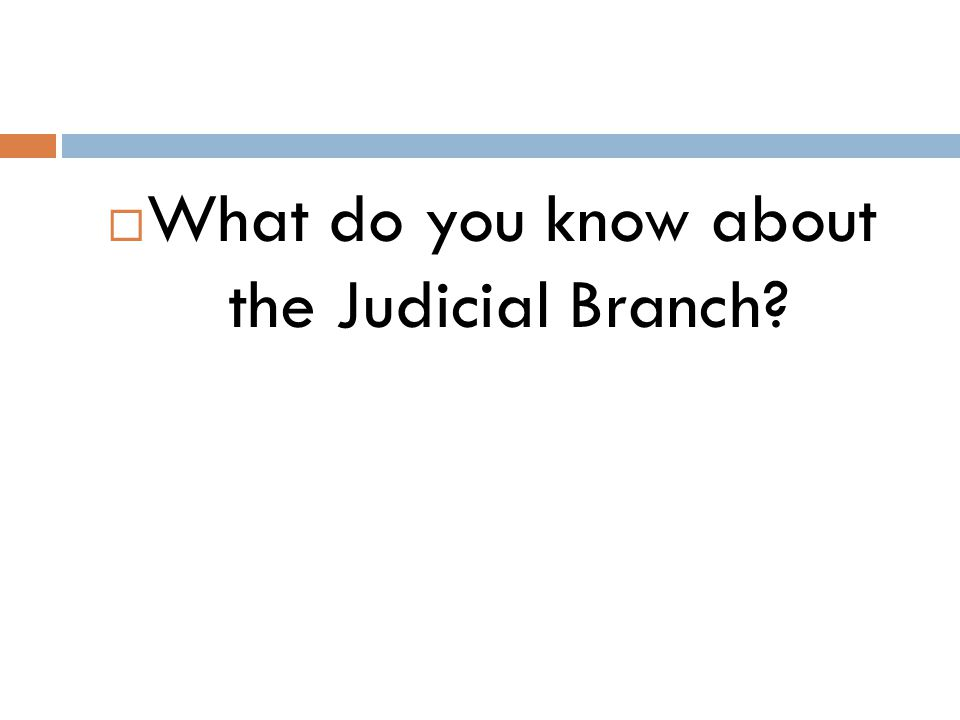 What do you know about the Judicial Branch