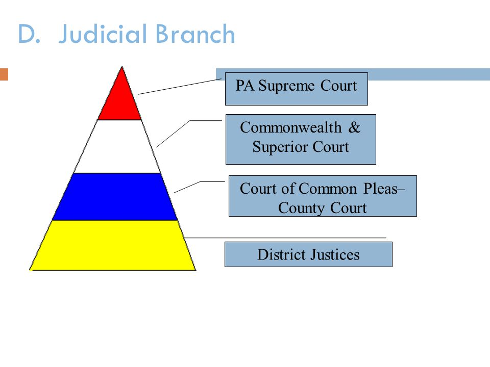 D. Judicial Branch PA Supreme Court Commonwealth & Superior Court