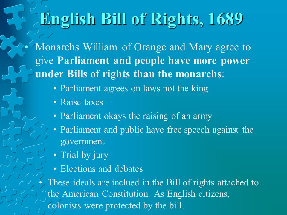 English Bill of Rights, 1689
