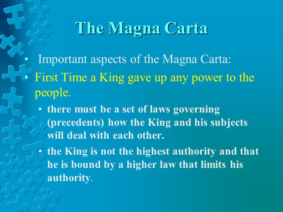 The Magna Carta Important aspects of the Magna Carta: