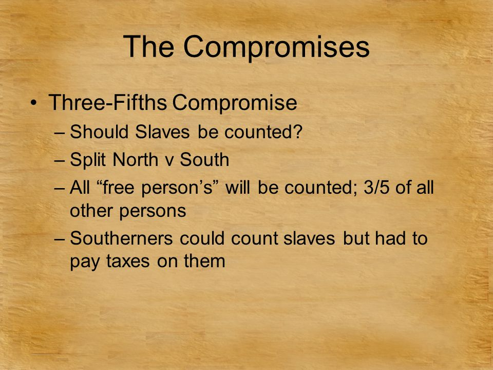 The Compromises Three-Fifths Compromise Should Slaves be counted