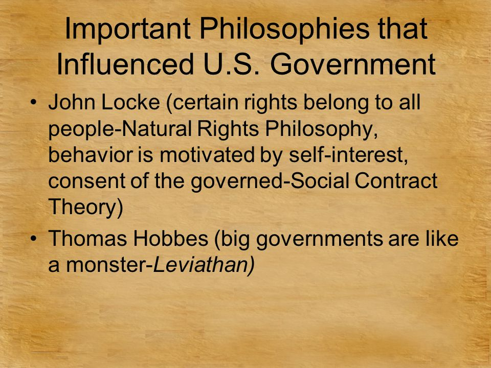 Important Philosophies that Influenced U.S. Government