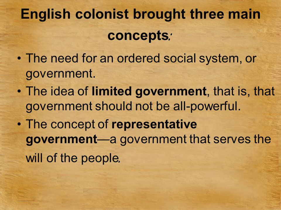 English colonist brought three main concepts: