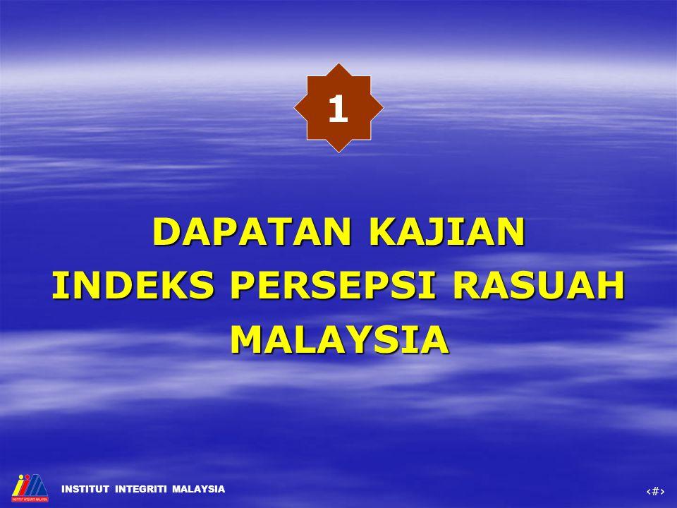 DAPATAN KAJIAN INDEKS PERSEPSI RASUAH MALAYSIA