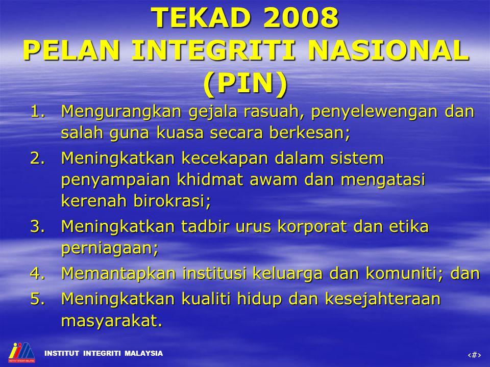 TEKAD 2008 PELAN INTEGRITI NASIONAL (PIN)