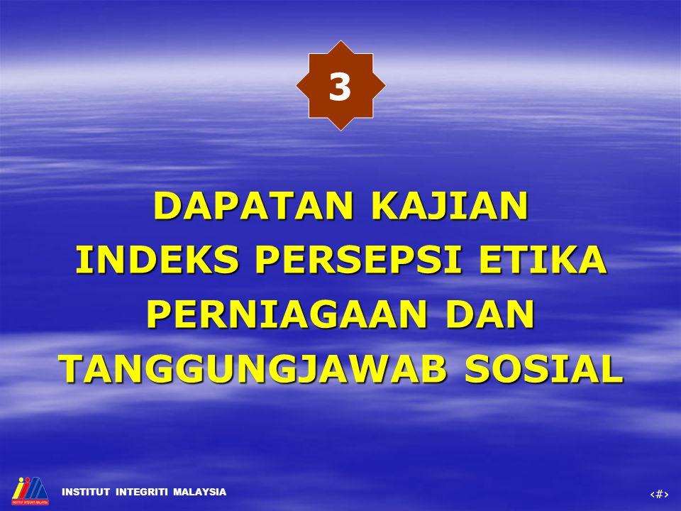 3 DAPATAN KAJIAN INDEKS PERSEPSI ETIKA PERNIAGAAN DAN TANGGUNGJAWAB SOSIAL
