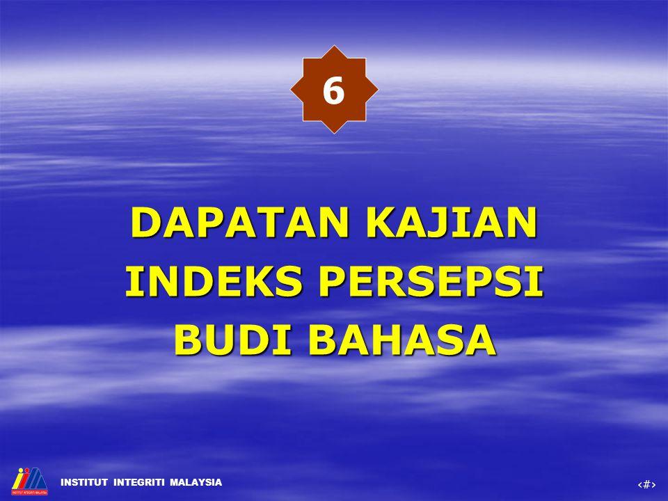 DAPATAN KAJIAN INDEKS PERSEPSI BUDI BAHASA