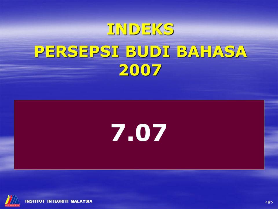 INDEKS PERSEPSI BUDI BAHASA 2007 7.07