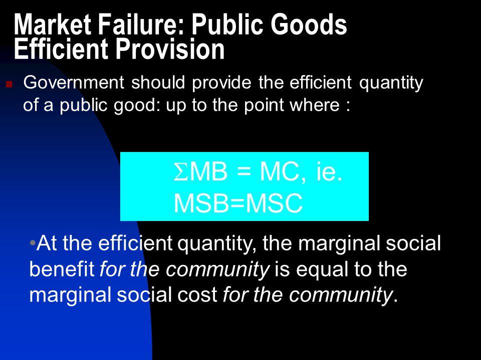 Market Failure: Public Goods Efficient Provision