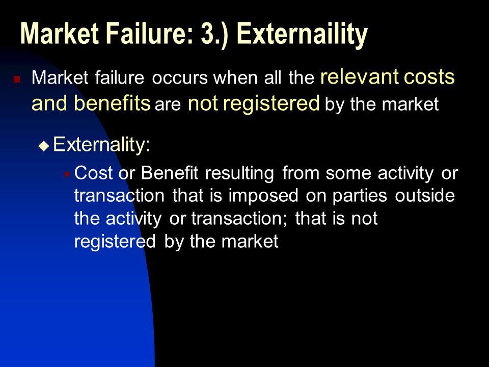 Market Failure: 3.) Externaility