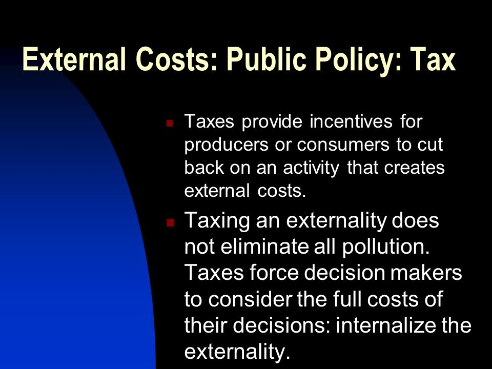 External Costs: Public Policy: Tax