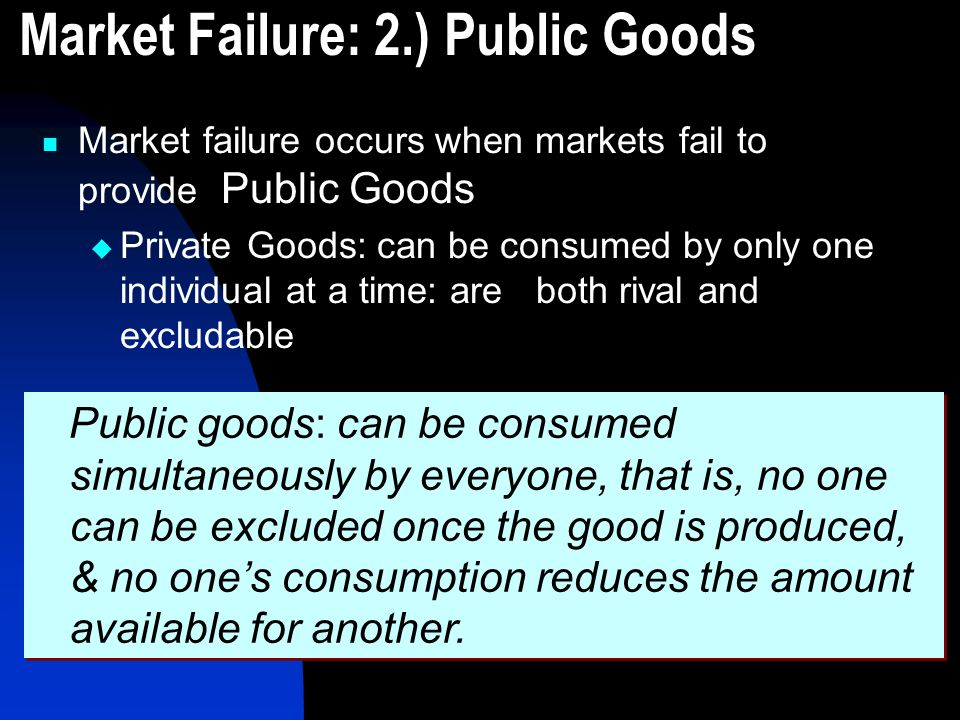 Market Failure: 2.) Public Goods