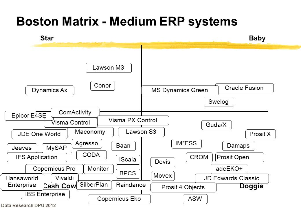 Boston Matrix - Medium ERP systems