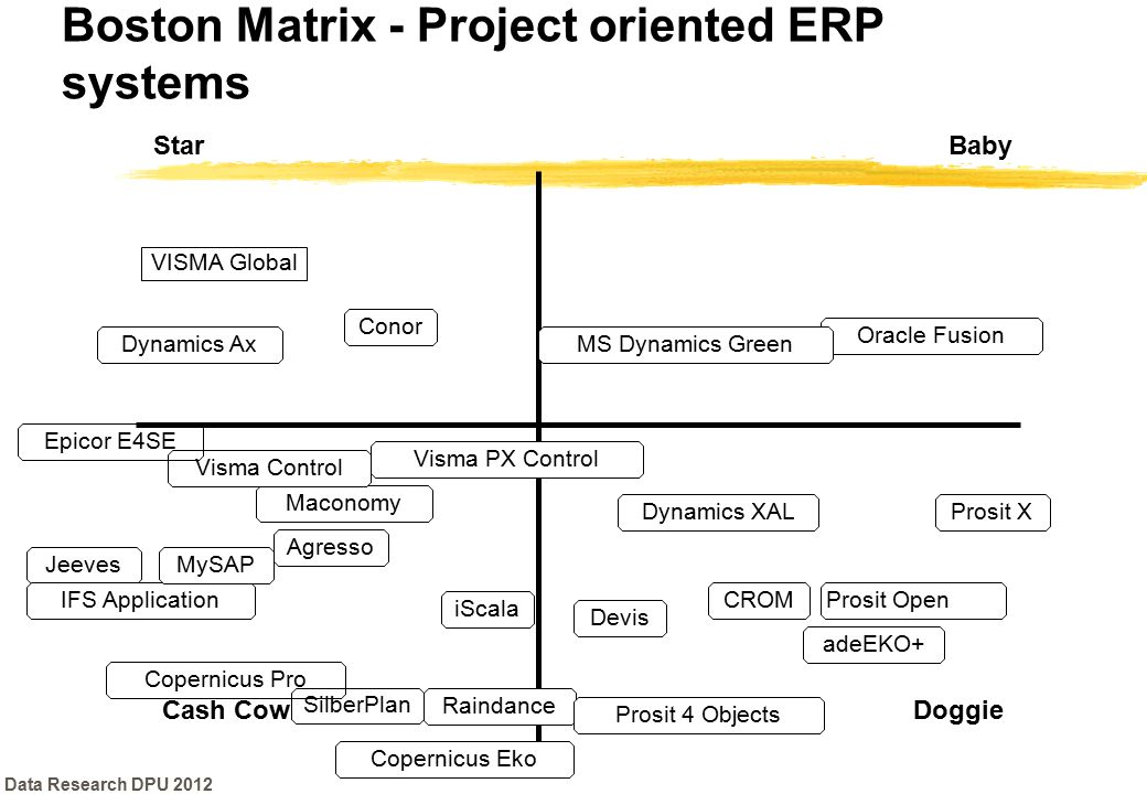 Boston Matrix - Project oriented ERP systems