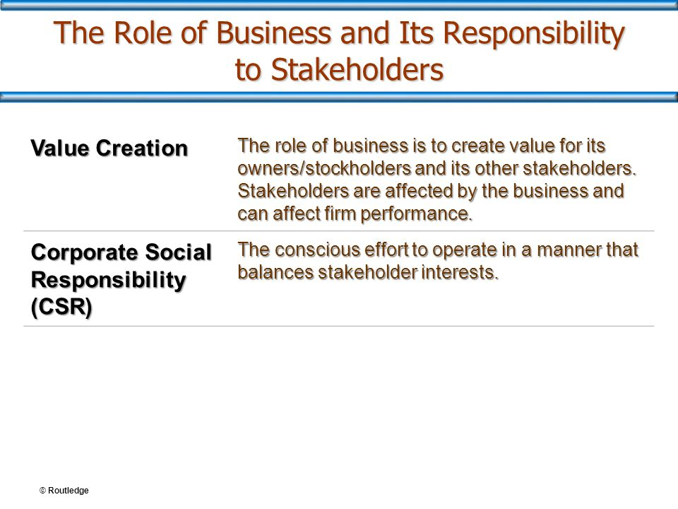 The Role of Business and Its Responsibility to Stakeholders